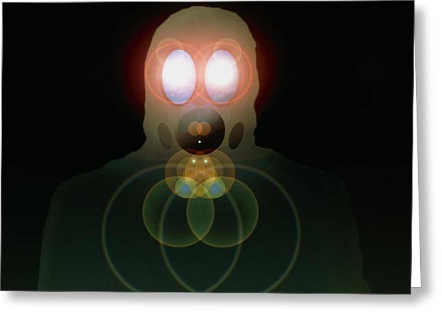 Computer Artwork Of A Figure Wearing A Gas Mask Greeting Card
