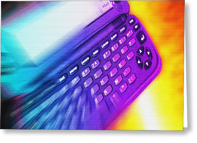 Computer Artwork Of A Palmtop Computer Greeting Card by Victor Habbick Visions