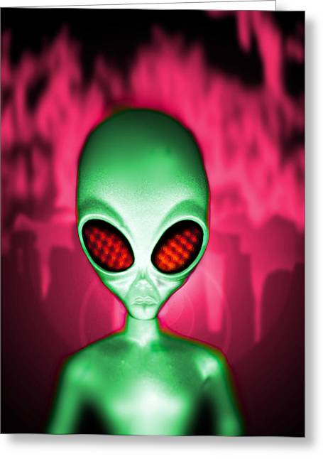 Computer Artwork Of An Alien Or Extraterrestrial Greeting Card by Victor Habbick Visions