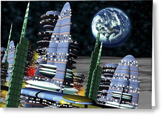 Computer Artwork Of Earth Above A City On The Moon Greeting Card by Victor Habbick Visions