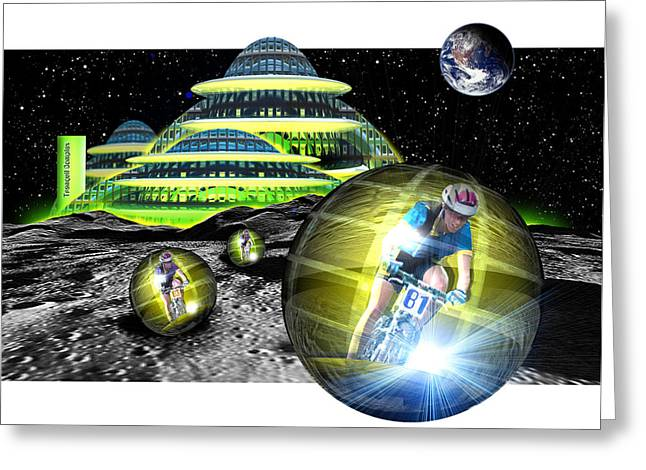Computer Artwork Of Men Cycling From A Moon Base Greeting Card by Victor Habbick Visions