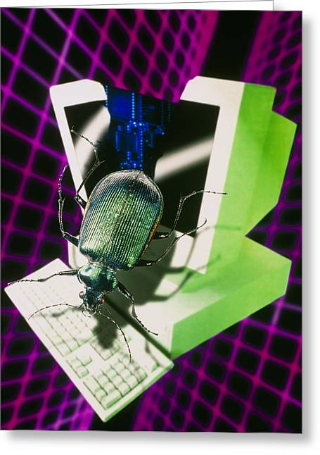 Computer Artwork Representing The Millennium Bug Greeting Card by Victor Habbick Visions
