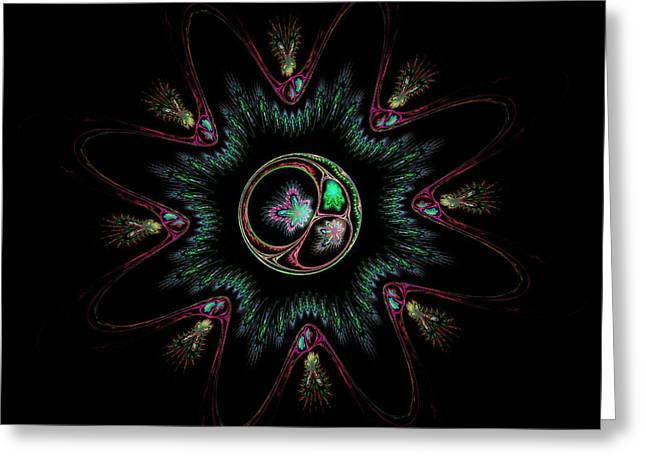 Computer Generated Flower Abstract Fractal Flame Modern Art Greeting Card by Keith Webber Jr