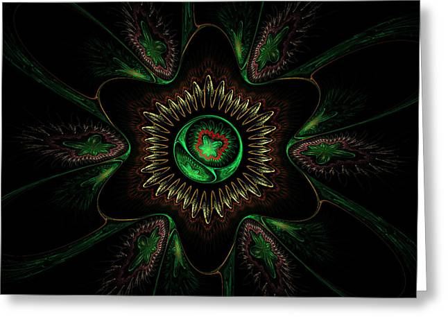 Computer Generated Green Flower Abstract Fractal Flame Modern Art Greeting Card by Keith Webber Jr