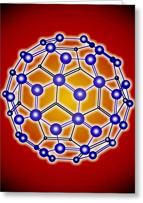 Computer Graphic Of A Buckyball (c60) Greeting Card by Pasieka