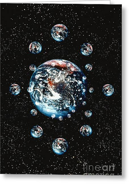 Computer Graphic Of Small Planets Greeting Card