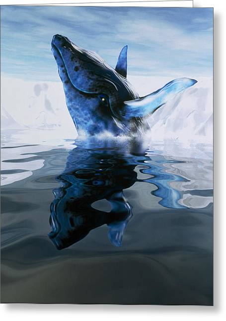 Computer Illustration Of A Humpback Whale Greeting Card by Victor Habbick Visions