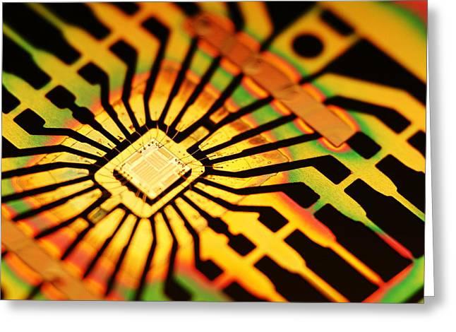 Computer Microchip Greeting Card by Pasieka