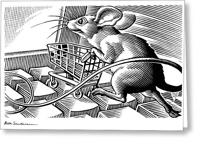 Computer Shopping, Conceptual Artwork Greeting Card by Bill Sanderson
