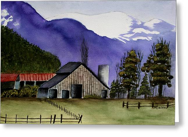 Concrete Barn Watercolor Greeting Card by Mary Gaines