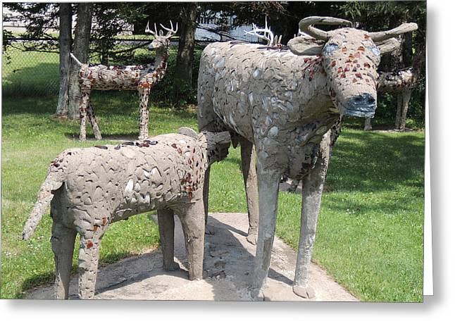 Concrete Calf And Cow Greeting Card by Peg Toliver
