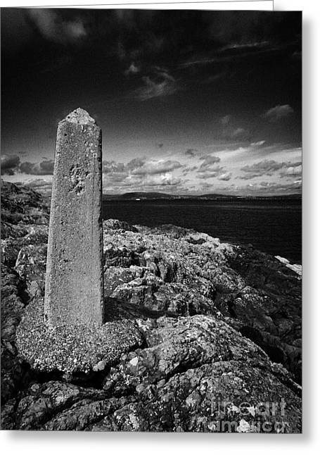 concrete mile marker post originally erected for the RMS titanic speed trials in Belfast Lough Greeting Card