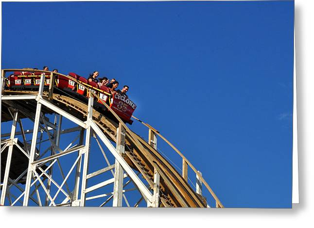 Coney Island Cyclone Greeting Card by Diane Lent