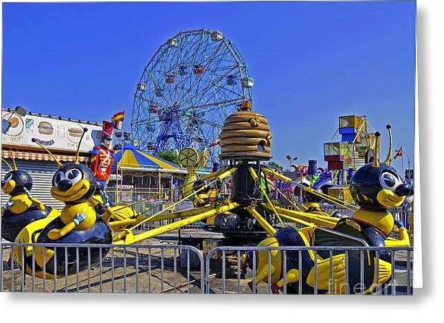Luna Park Fun - Coney Island - New York Greeting Card by Madeline Ellis