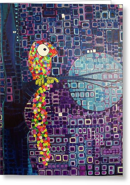 Greeting Card featuring the painting Confetti Bird by Donna Howard