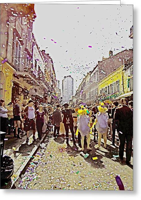 Confetti Sky On Mardi Gras Day In New Orleans Greeting Card