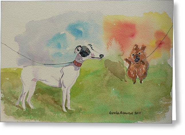 Greeting Card featuring the painting Confidence  by Geeta Biswas