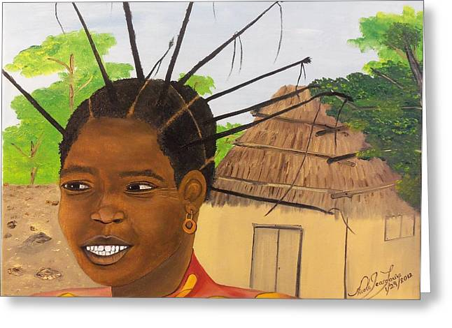 Congolese Woman Greeting Card by Nicole Jean-Louis