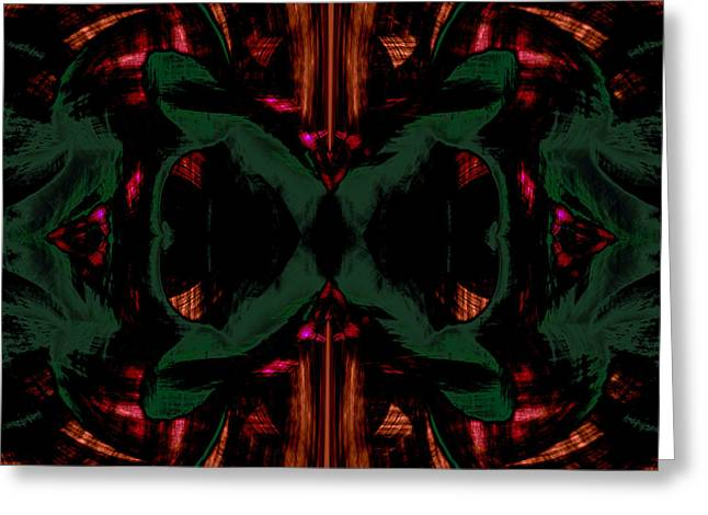 Conjoint - Copper And Green Greeting Card by Christopher Gaston