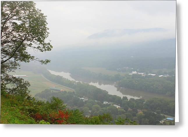 Connecticut River Valley Fog Mount Sugarloaf Greeting Card by John Burk