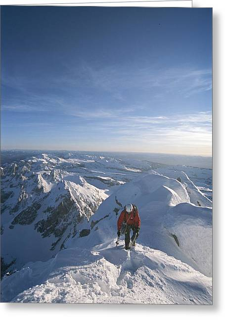 Conrad Anker Summits A Mountain Greeting Card by Jimmy Chin