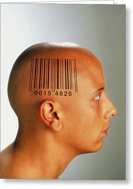 Consumer Society: Bar Code Printed On Woman's Head Greeting Card