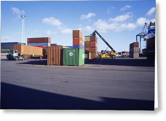 Container Port Greeting Card by Carlos Dominguez