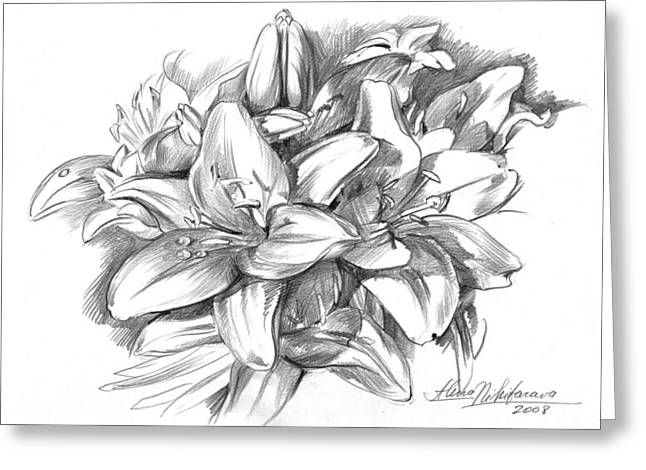 Conte Pencil Sketch Of Lilies Greeting Card