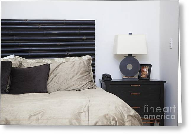 Contemporary Bed And Nightstand Greeting Card by Inti St. Clair