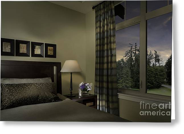 Contemporary Bedroom With Window Greeting Card by Robert Pisano