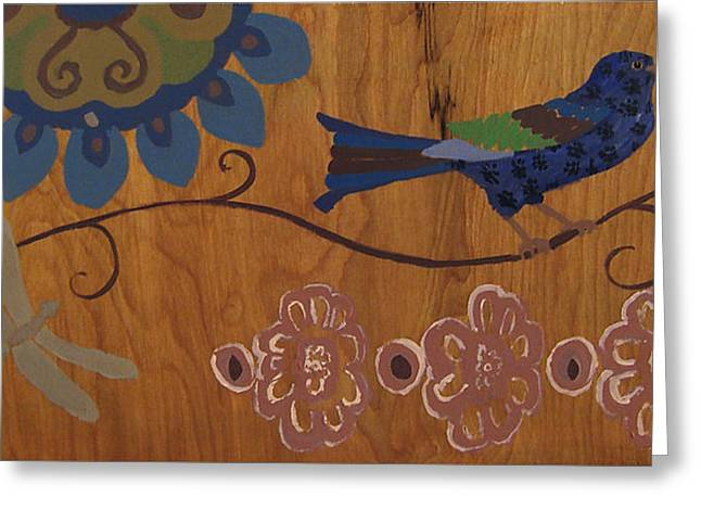 Greeting Card featuring the mixed media Contemporary Whimsical Bird On A Wire In Pastel-like Colors With Flowers And Dragonfly by M Zimmerman