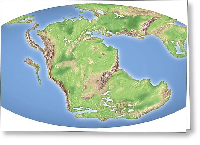 Continental Drift, 200 Million Years Ago Greeting Card by Mikkel Juul Jensen