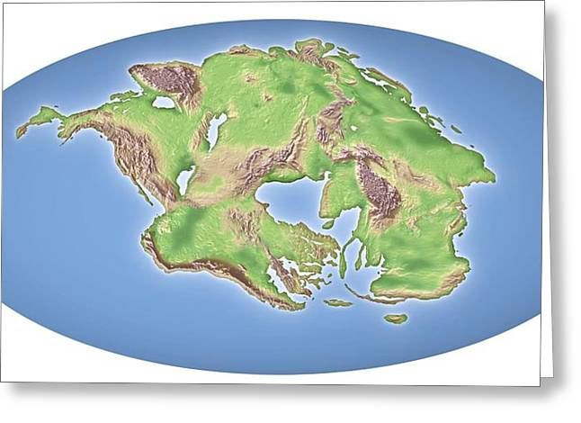 Continental Drift After 250 Million Years Greeting Card by Mikkel Juul Jensen