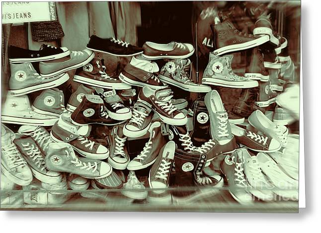 Converse Running Shoe In Window Greeting Card by Helen  Bobis