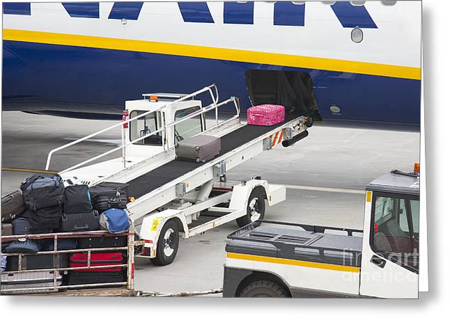 Conveyor Unloading Luggage Greeting Card by Jaak Nilson