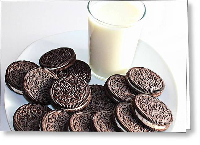 Dunk Cookies Greeting Cards - Cookies and Milk Greeting Card by Barbara Griffin