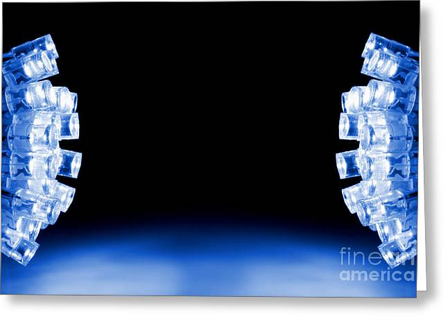 Cool Blue Led Lights Both Sides Greeting Card by Simon Bratt Photography LRPS