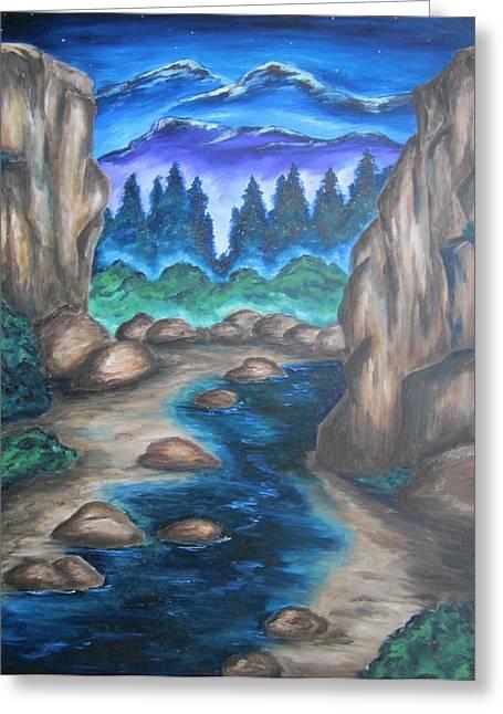 Cool Mountain Water Greeting Card by Cheryl Pettigrew
