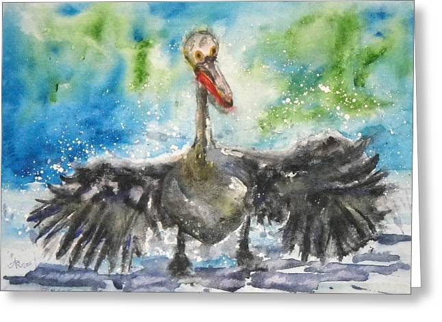 Greeting Card featuring the painting Cooling Off by Anna Ruzsan