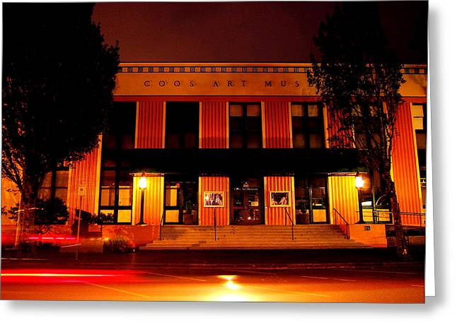 Coos Art Museum At Night In Coos Bay Greeting Card by Gary Rifkin