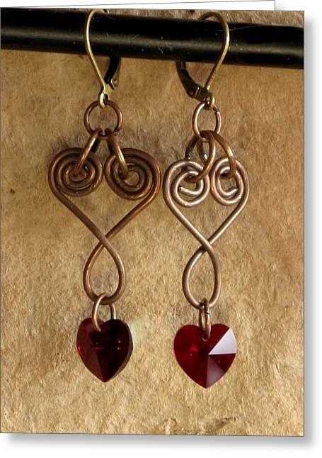 Copperhearts Greeting Card by Jan Brieger-Scranton