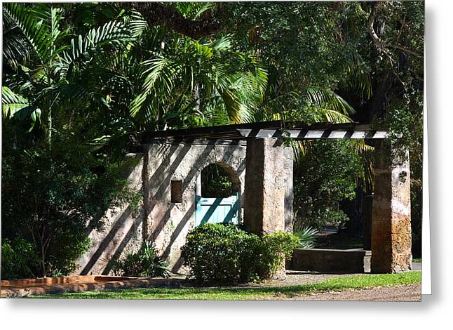 Greeting Card featuring the photograph Coral Gables Gate by Ed Gleichman