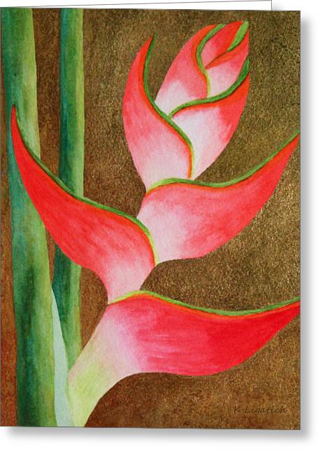 Coral Lobster Claw Heliconia With Gold Leaf Greeting Card by Kerri Ligatich