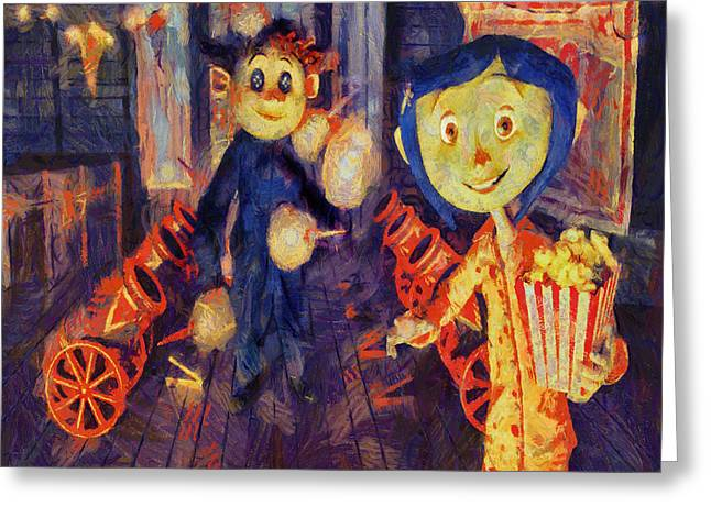 Greeting Card featuring the painting Coraline Circus by Joe Misrasi