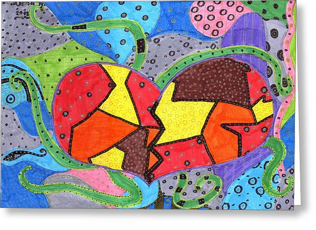 Corazon2 Greeting Card by Arena Hernandez