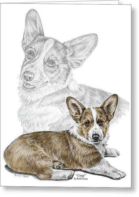 Corgi Dog Art Print Color Tinted Greeting Card by Kelli Swan