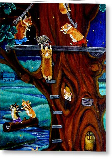 Corgi Secret Hideout Greeting Card by Lyn Cook