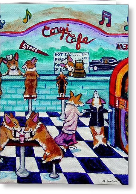 Corgi Soda Shop Romance Greeting Card