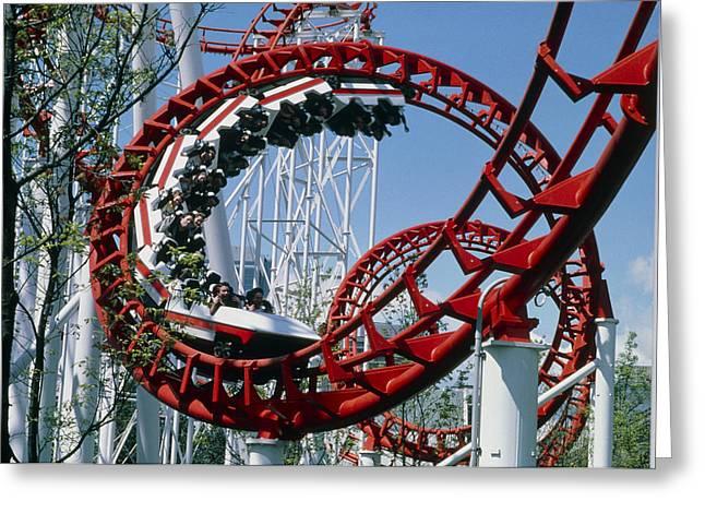 Corkscrew Coil On A Rollercoaster Ride Greeting Card by Kaj R. Svensson