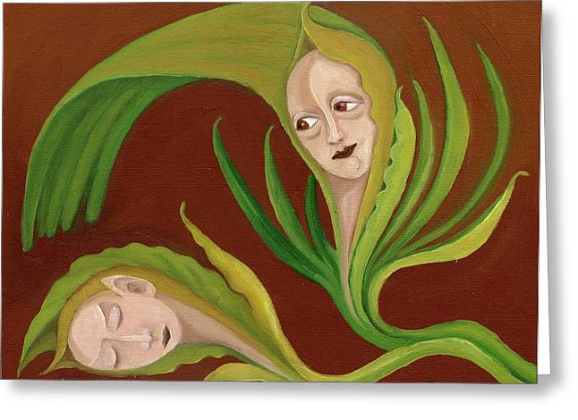 Corn Love Fantastic Realism Faces In Green Corn Leaves Sleeping Or Dead Loving Or Mourning Gree Greeting Card